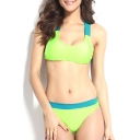 Green Wide Strap Squared Neck High Waist Bikini Set
