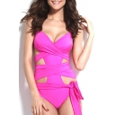 Halter Padded Cup Cutout One Piece Swimwear