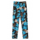 Vintage Floral Print Casual Chiffon Pants