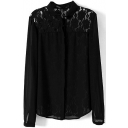 Black Lace Inset Shoulder&Back Stand Collar Chiffon Shirt