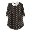 Black 1/2 Sleeve Tiger Head Polka Dot Print Chiffon Blouse