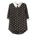 Black 1/2 Sleeve Tiger Head Polka Dot Print Chiffon Blouse