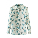 Bird Print Lapel Long Sleeve Chiffon Shirt