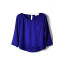 Dark Navy 3/4 Sleeve Single Pocket Chiffon Blouse
