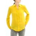 Yellow Long Sleeve Single Breast Chiffon Blouse