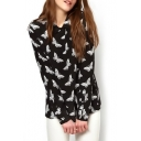 Black Long Sleeve Butterfly Print Chiffon Blouse
