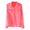 Red Double Pocket Long Sleeve Chiffon Blouse