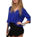 Blue Long Sleeve Stand Up Collar Chiffon Blouse