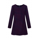 Red Square Pattern Long Sleeve Dress