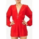 Red V-Neck Long Sleeve Gathered Waist Rompers