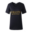 Gold Romantic Embroidered Black Short Sleeve T-Shirt