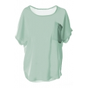 Light Green Short Sleeve Split Hem Chiffon Blouse