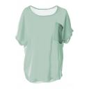 Light Green Short Sleeve Split Hem Chiffon Blouse