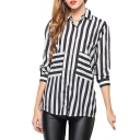 Mono Striped Pocket Long Sleeve Chiffon Shirt