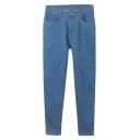 Plain Blue Zipper Fly Pockets Skinny Crop Jeans