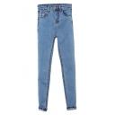 Light  Wash Blue Stitch Detail Mottled Denim Jeans