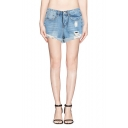 Light Blue High Waist Distressed Cuffed Denim Shorts
