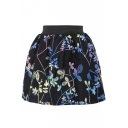 Colorful Floral Print Wool Mini Skirt with Elastic Waist