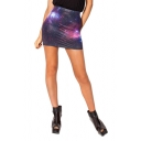Purple Galaxy Print Bodycon Skirt