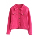 Vintage Candy Color Single-Breasted Cropped Jacket