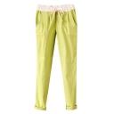 Candy Color Lace Elastic Waist Pockets Pencil Pants