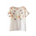 Embroidered Leaves Pattern Round Neck Crop Sheer Tee