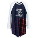 Cute Micky Mouse Princess Plaid Pattern Panel Hem Long Sleeve Tee