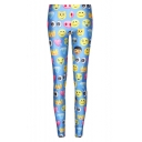 Newly Blue Emoji Print Fitted Skinny Leggings