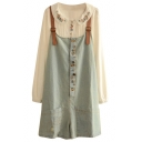 Casual Style Vintage Delicate Button Embellish Denim Overalls
