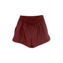 Plain PU Elastic Waist Shorts in Loose Fit