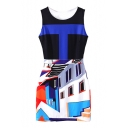 Geometric House Print Sleeveless Dress