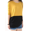 Color Block 3/4 Sleeve Cotton Loose Tee