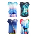 Cloud Galaxy Rain Painting T-Shirt with Round Neck