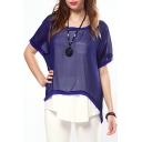 Round Neck Sheer Chiffon Loose Top with Dip Hem
