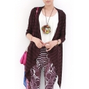 Striped Thin 3/4 Length Sleeve Cardigan with Waterfall Front