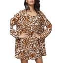 Yellow Leopard Print Mini Smock Dress