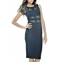 Sheer Mesh Insert Round Neck Sleeveless Midi Dress