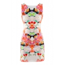 Round Neck Slim Sleeveless Vintage Fresh Flower Print Dress