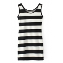 Mono Thick Stripes Pattern Tanks Slim Dress