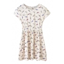 All Over Tiny Colorful Birds Print Short Sleeve White A-line Dress
