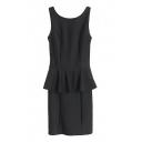 Peplum Waist Seam Detail Plain Sleeveless Bodycon Dress