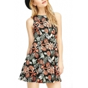 Floral and Leaf Sleeveless Round Neck Pleated Dress