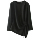 Black Long Sleeve Ruched Hem Round Neck Blouse