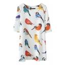 Bird Print Loose Half Sleeve Shift Dress