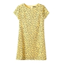 Yellow Tree Print Short Sleeve Shift Dress