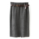 Gray Belted Back Split Pencil Skirt