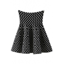 Back High Waist Polka Dot Print Ruffle Hem Skirt