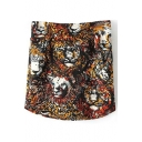 Tiger Head Print Fitted Zip Back Mini Skirt