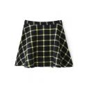 Yellow Plaid High Waist Pleated Mini Skirt