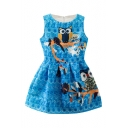 Blue Sleeveless Vintage Owl Embroidered A-line Dress
